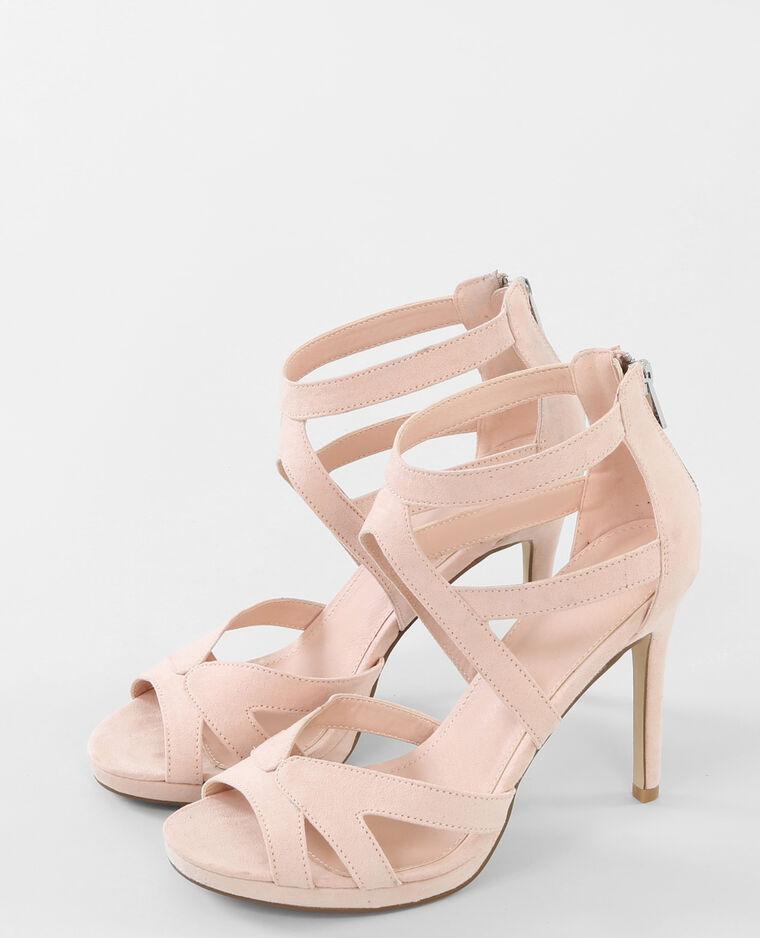 Sandales ajourées à talon Beige