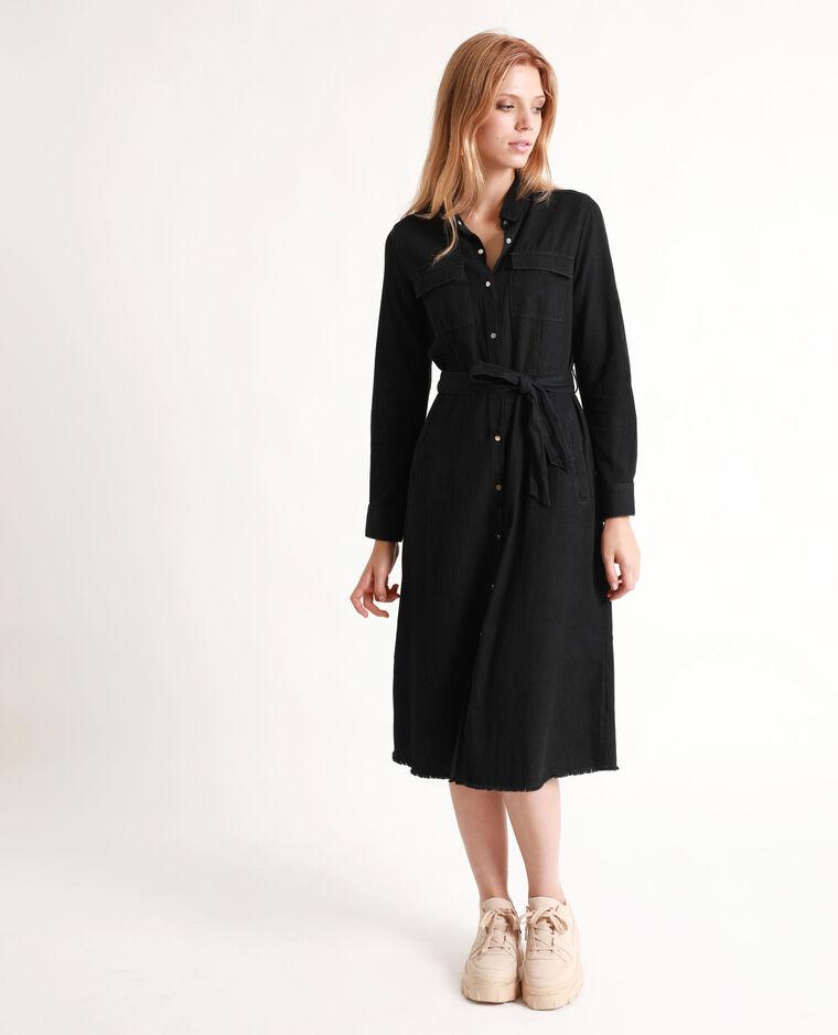 Robe col chemise noir 780826899F08 | Pimkie