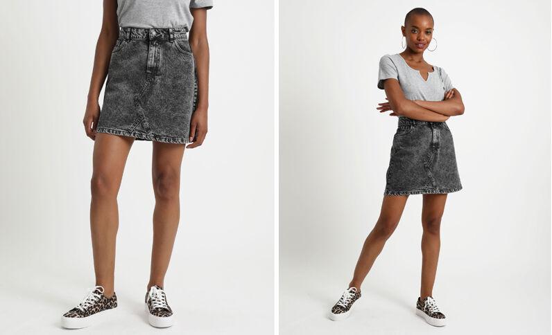 Jupe en jean délavé gris