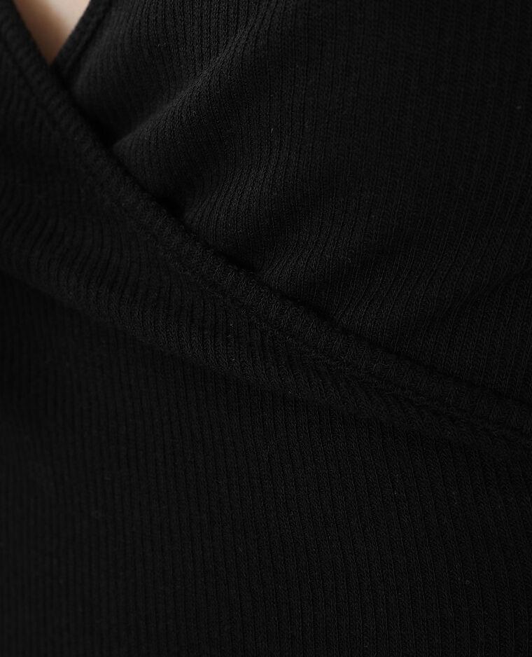 Top côtelé cache-cœur noir - Pimkie