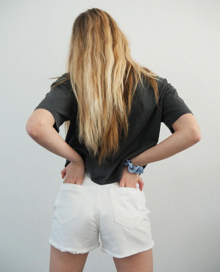 Short en jean high waist écru