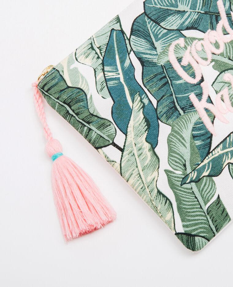 Pochette palmiers brodée vert