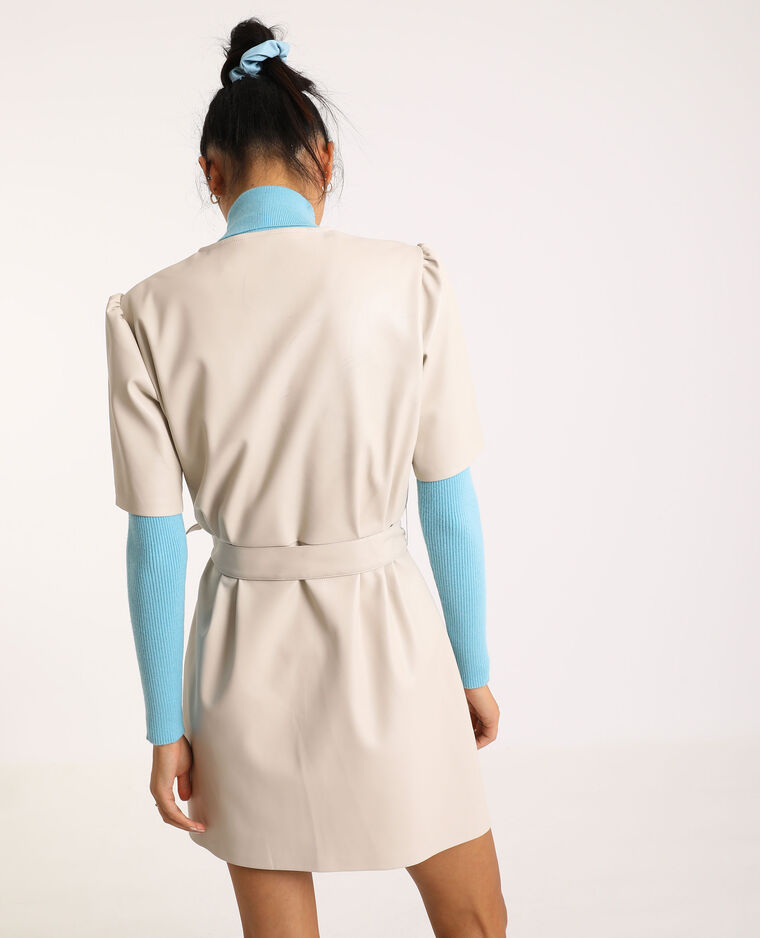 Robe courte en simili cuir beige