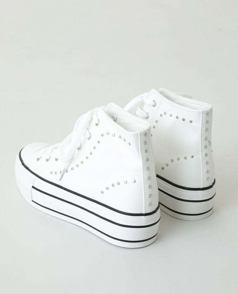 Baskets hautes plateformes cloutées blanc - Pimkie