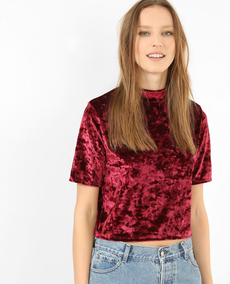 Cropped top velours violine