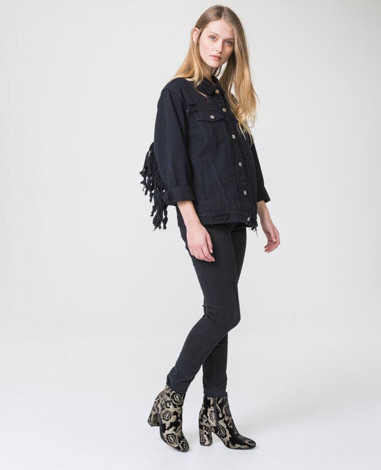 Veste en jean frangée noir