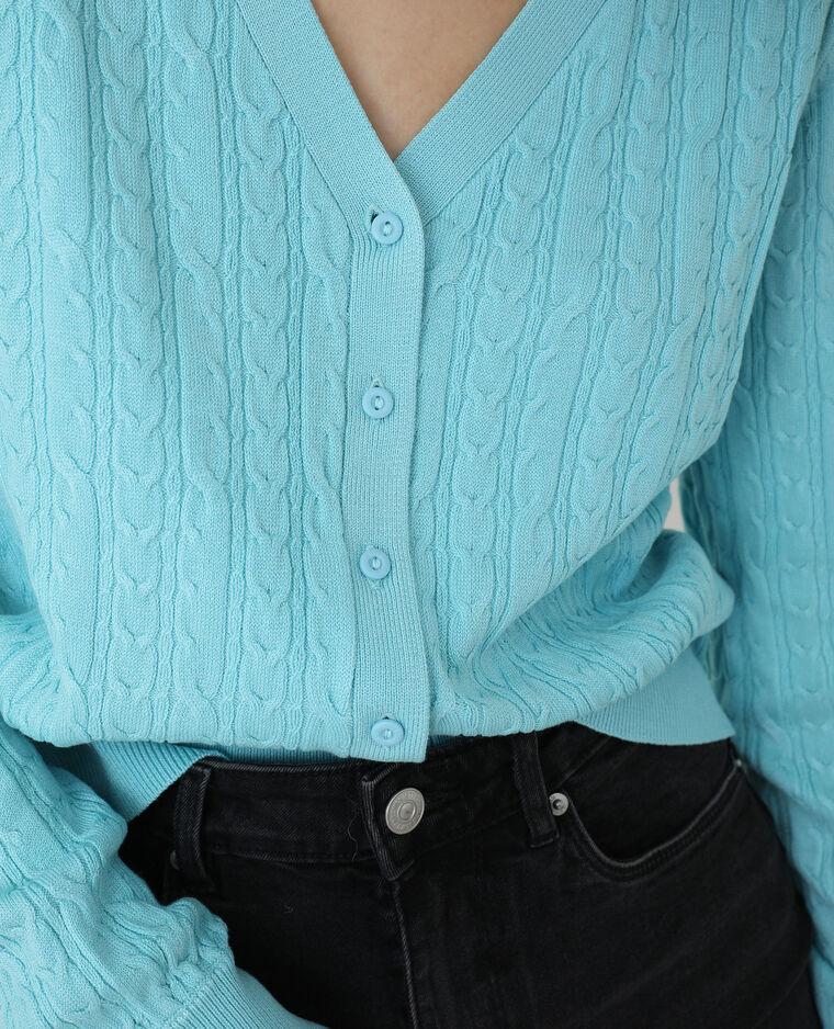 Gilet torsadé bleu aqua