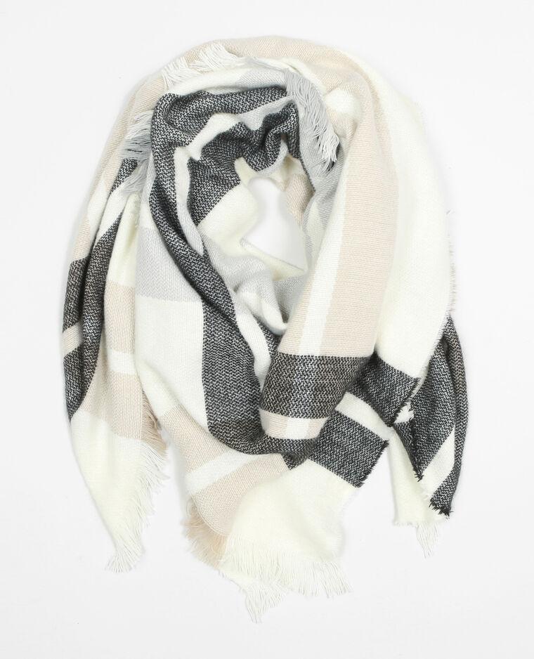 4e746f894fb Echarpe plaid à carreaux blanc - 902126901B38