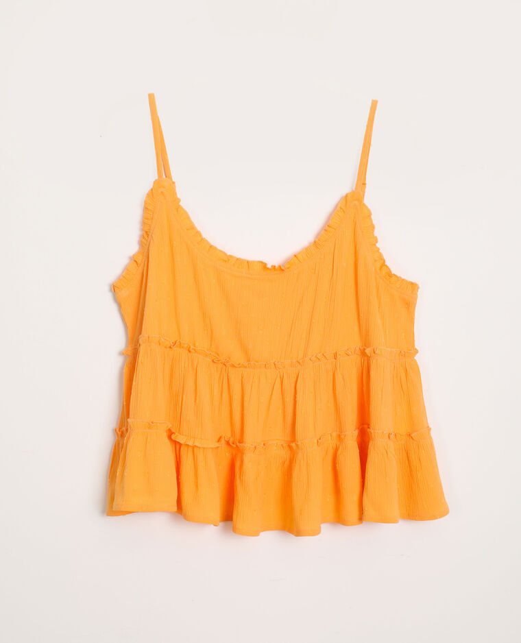 Top à fines bretelles volanté orange