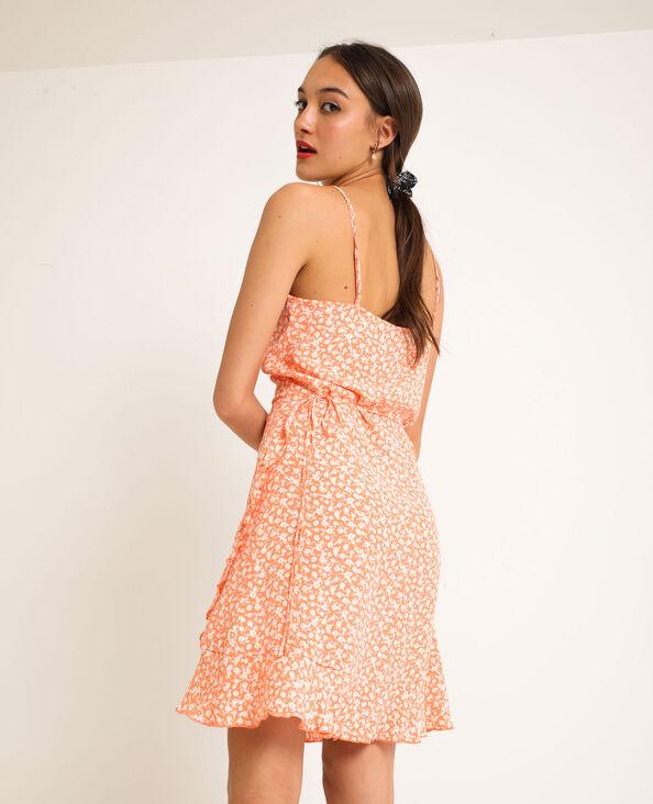 Robe portefeuille à fleurs orange