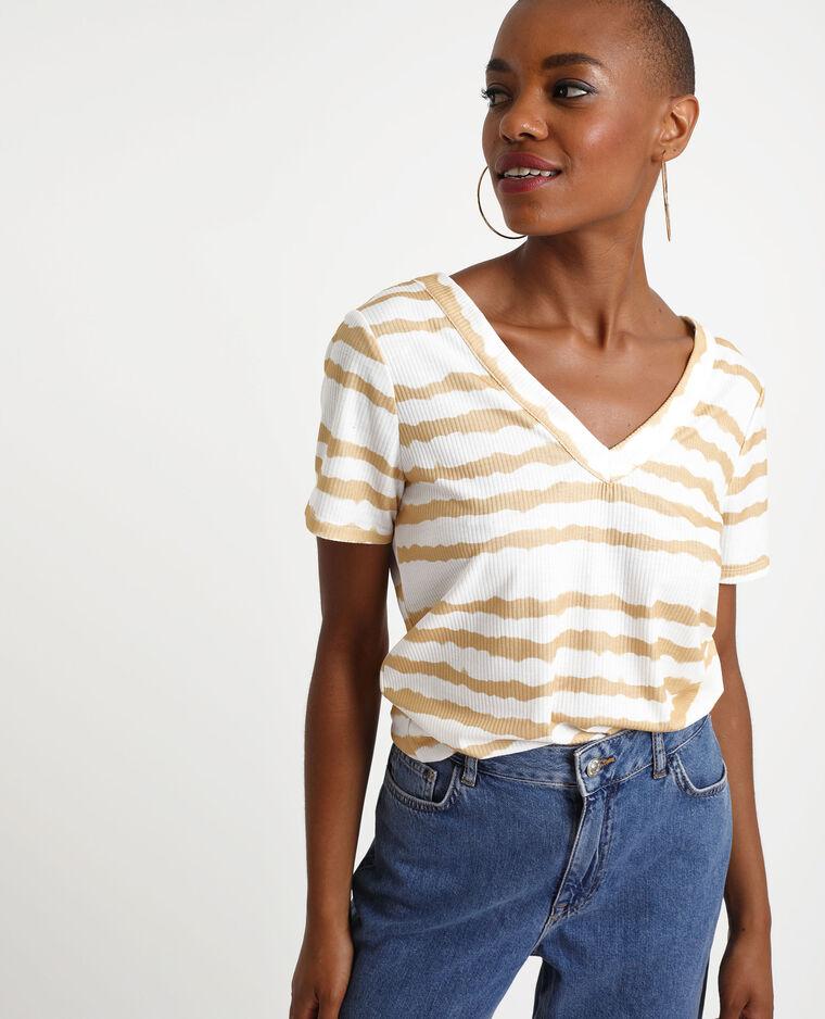 T-shirt boutonné effet tie & dye blanc cassé