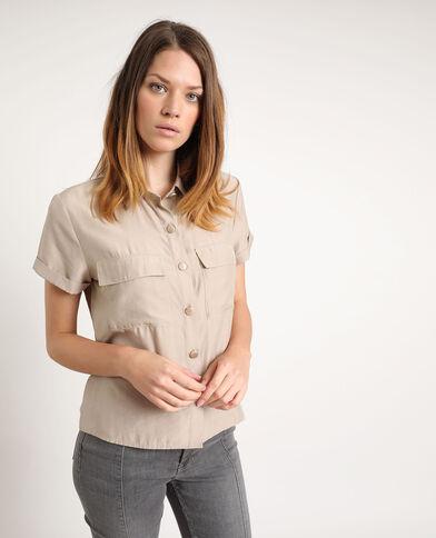Chemise à manches courtes marron
