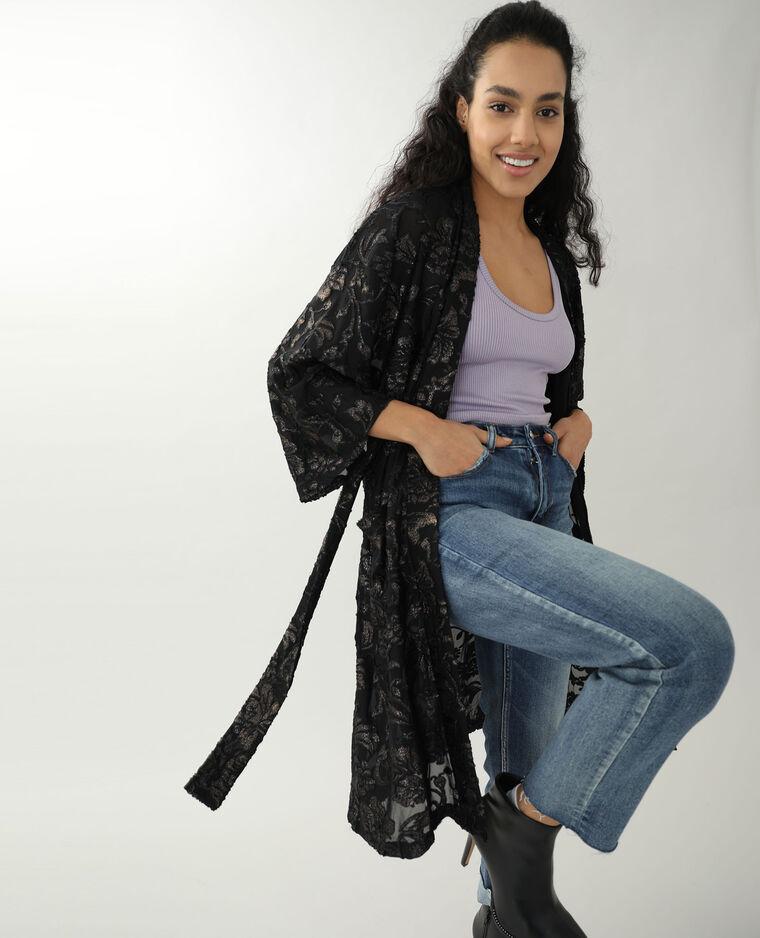 Kimono brodé noir