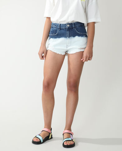 Short high waist destroy deep and dye bleu denim - Pimkie