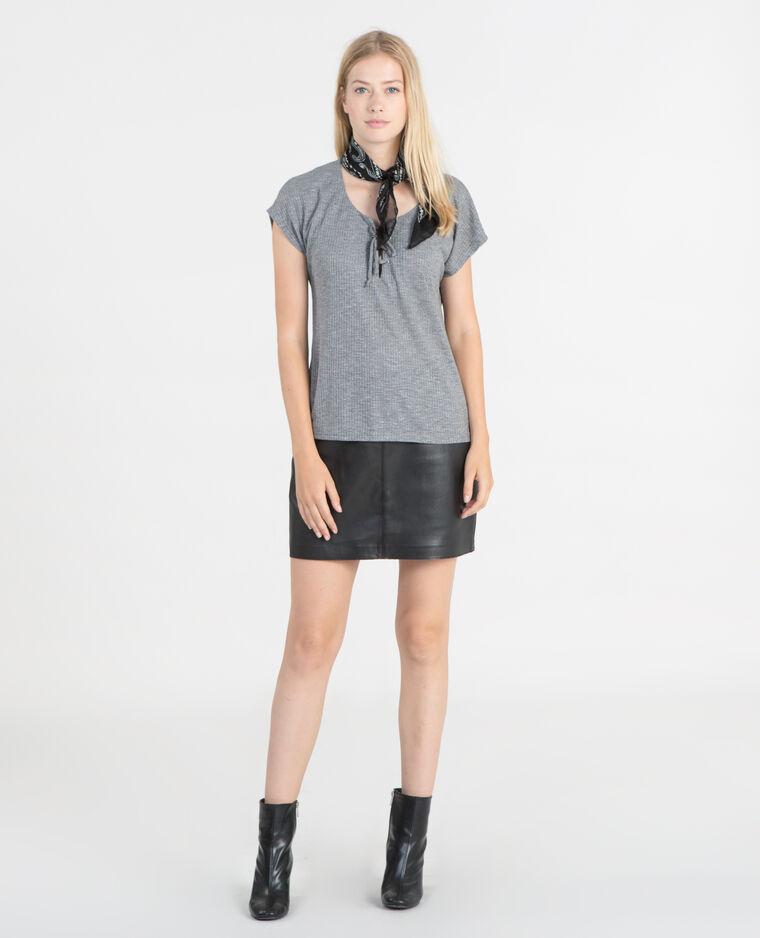 T-shirt côtelé avec lacets gris