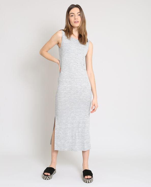 Robe longue moulante gris chiné