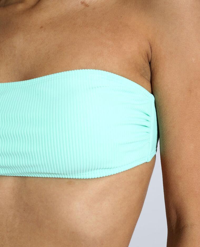 Haut de maillot bandeau côtelé vert pistache - Pimkie