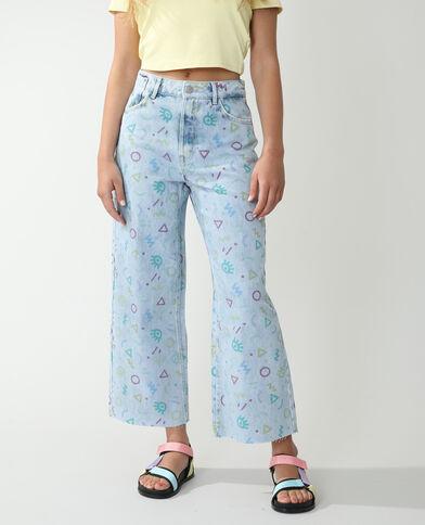 Jean wide leg high waist fantaisie bleu clair - Pimkie