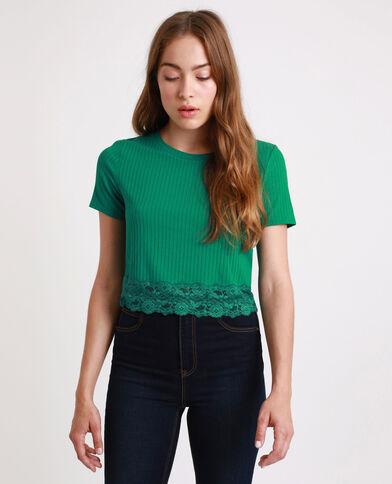 T-shirt court à dentelle vert