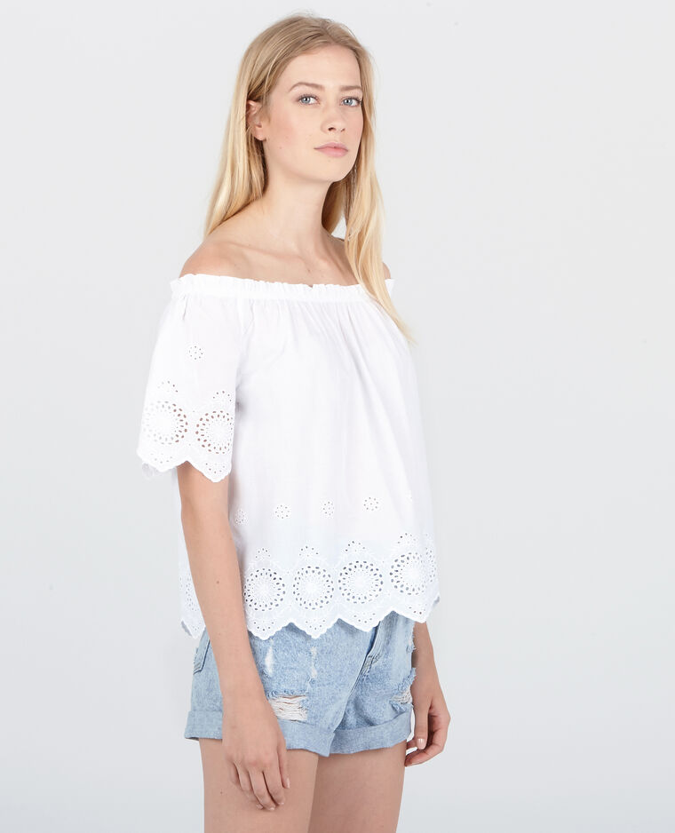 Blouse beachwear à broderies blanc