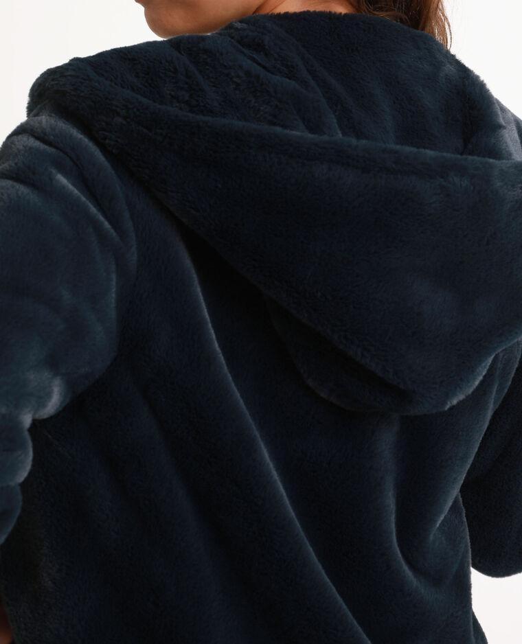 Manteau court en fausse fourrure bleu
