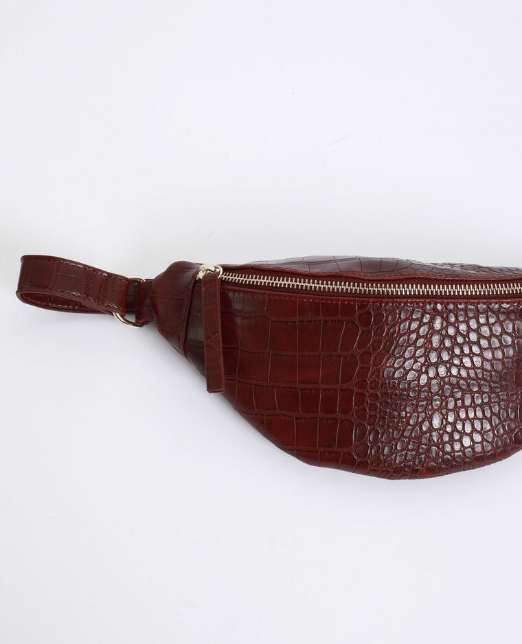 Sac banane croco Bordeaux
