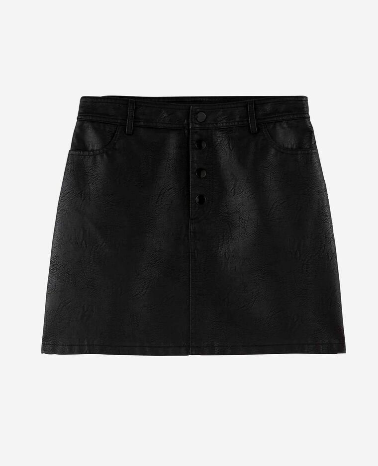 Jupe en simili cuir noir - Pimkie