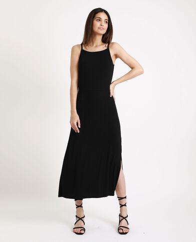 2471ac11a8 Robe longue côtelée noir