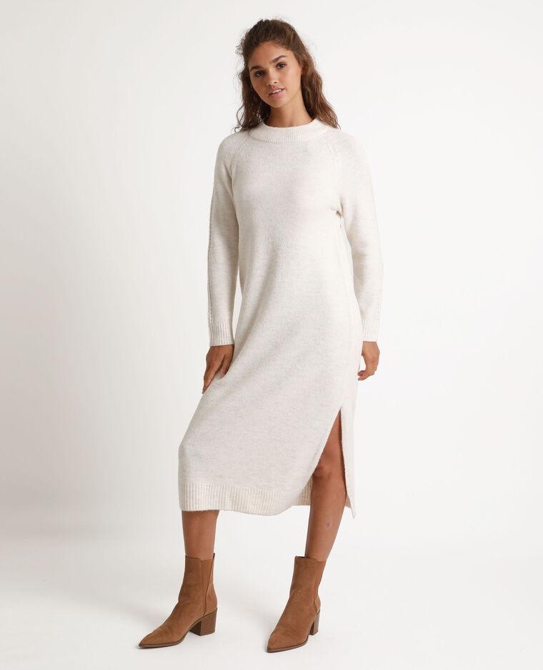 Robe pull longue écru