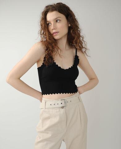 Crop top festonné noir - Pimkie