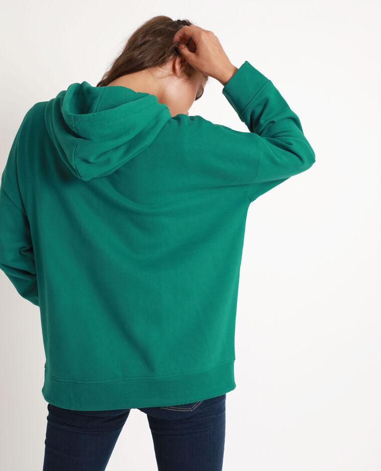 Sweat à capuche oversized vert