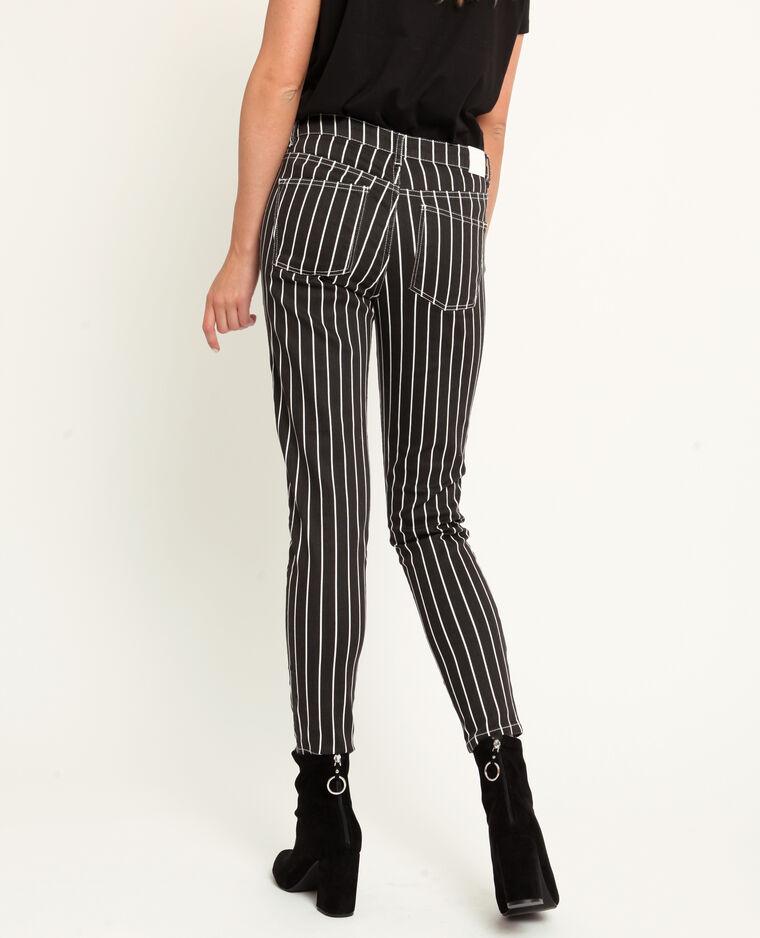 Pantalon skinny à rayures blanc