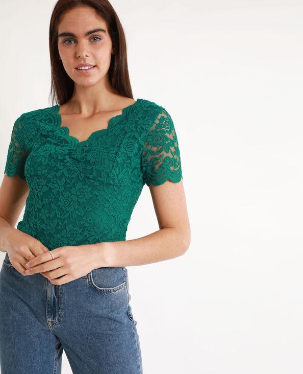 Tee-shirt en dentelle vert