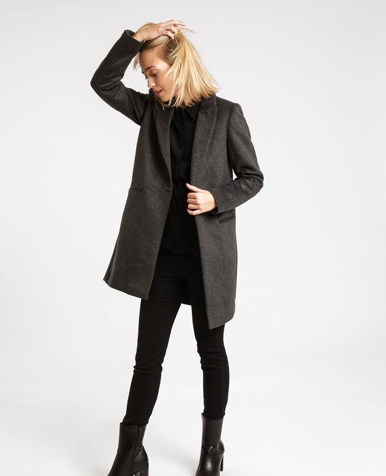 Manteau drap de laine droit gris anthracite - Pimkie
