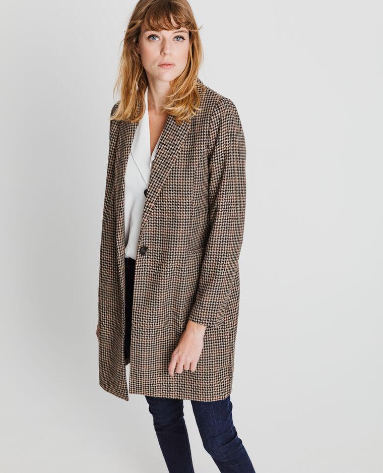 Manteau droit imprimé marron