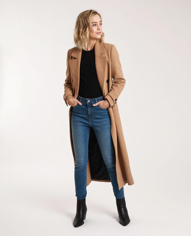 Manteau long avec laine caramel