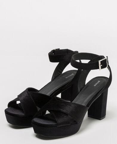 Sandales à plateau velours noir - Pimkie