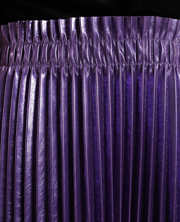 Jupe plissée simili cuir violet - Pimkie