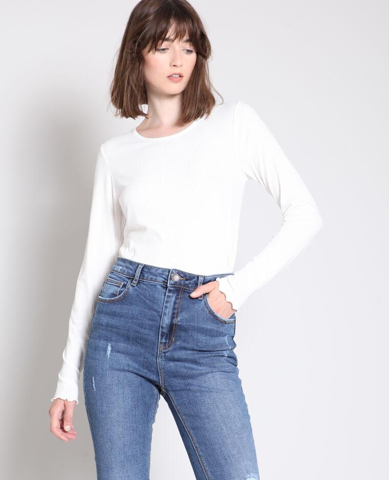 T-shirt texturé blanc cassé