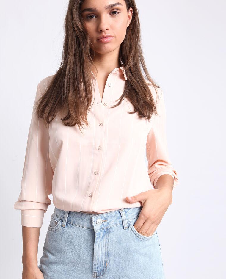 Chemise à rayures rose pâle