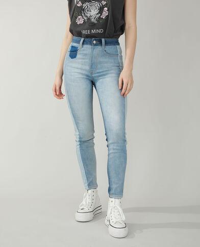 Jean skinny high waist bicolore bleu denim - Pimkie