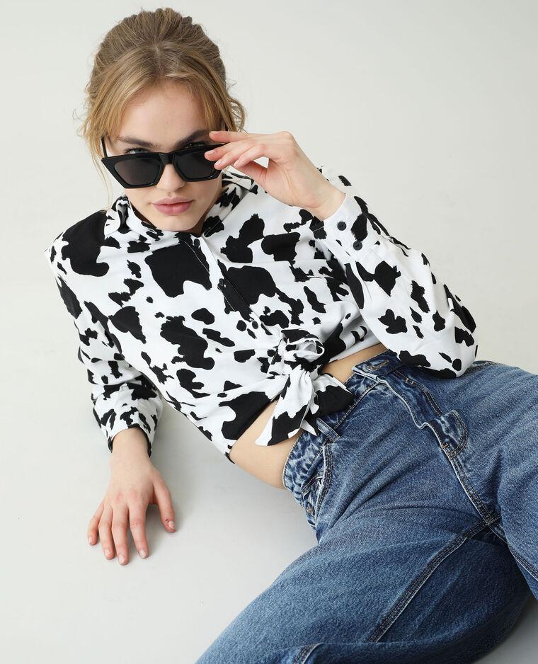 Chemise nouée vache noir