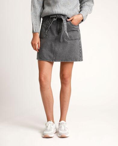 Jupe en jean à ceinture gris usé