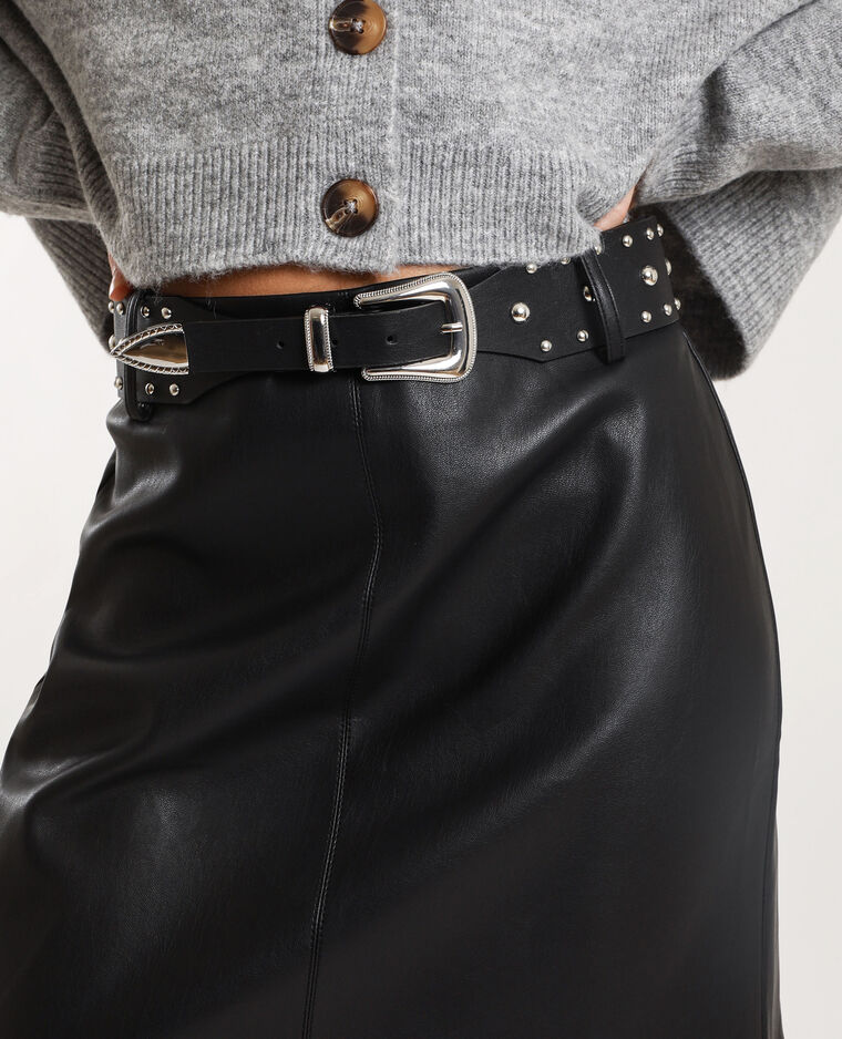 Jupe avec ceinture à clous noir