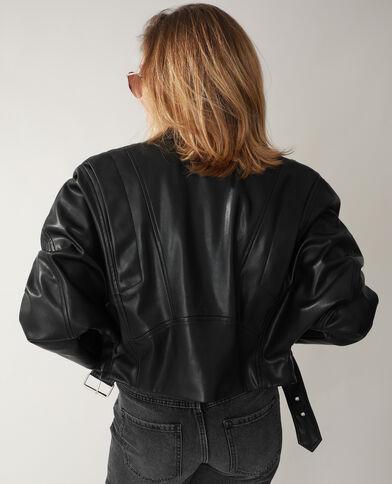 Veste biker en simili cuir noir - Pimkie