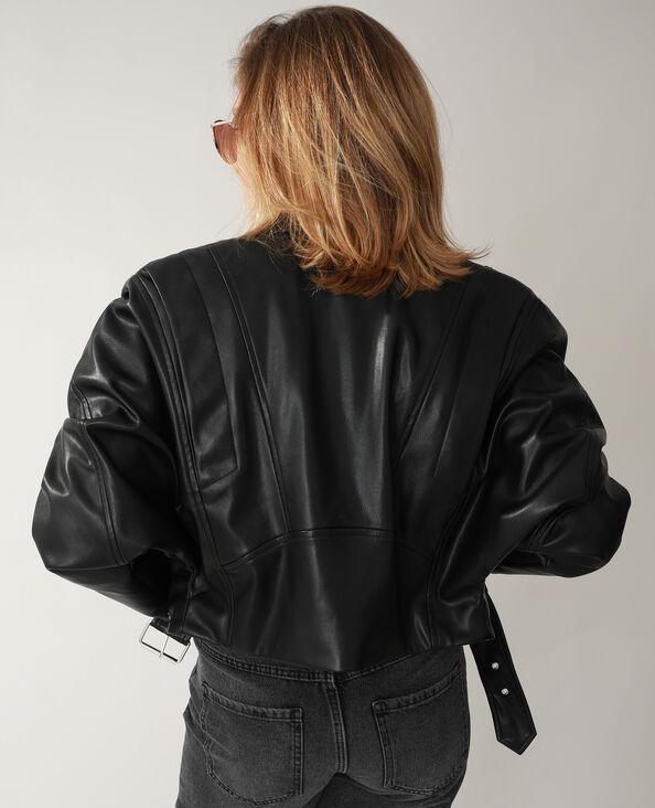 Veste biker en simili cuir noir