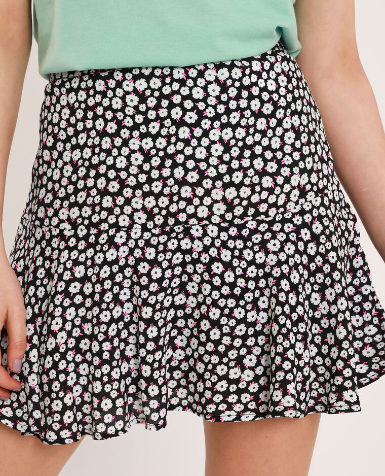 Jupe short à fleurs noir
