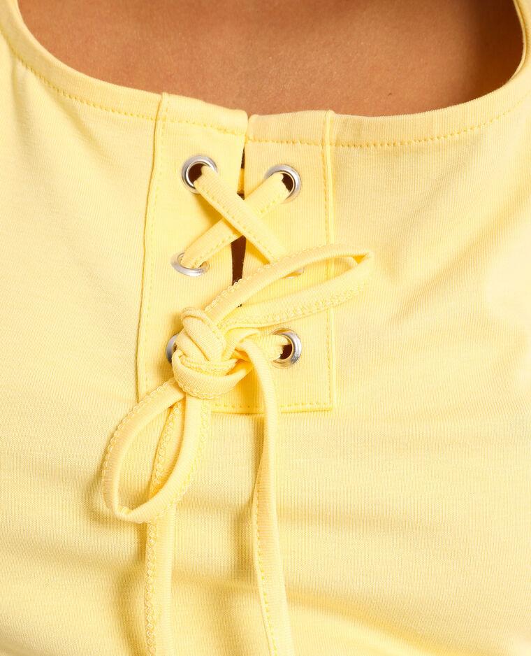 Top court à lacets jaune