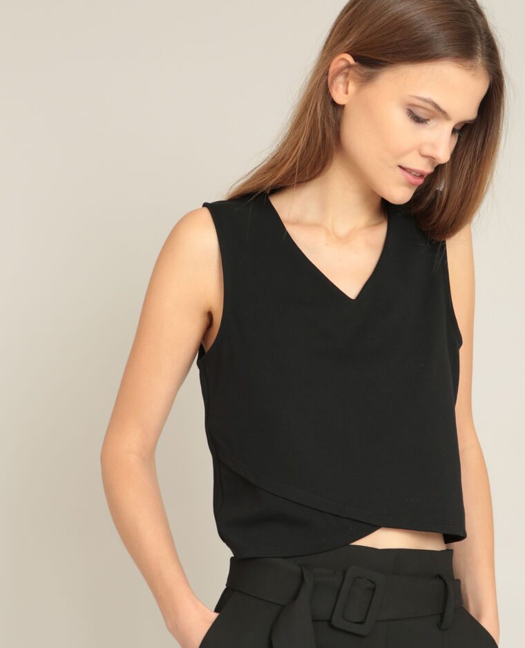 Cropped top col V noir