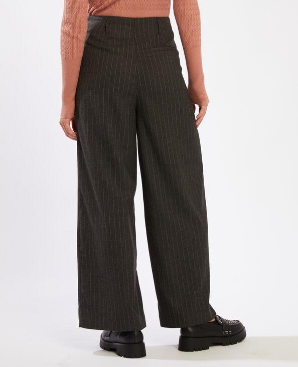 Pantalon large gris chiné - Pimkie